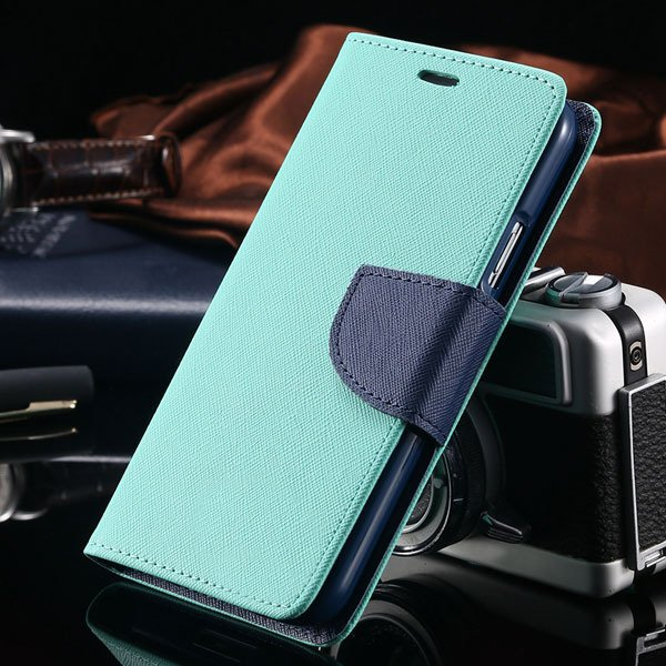 S6 Leather Case Double Color Full Protect Cover For Samsung Galaxy 32302336226-3-mint green