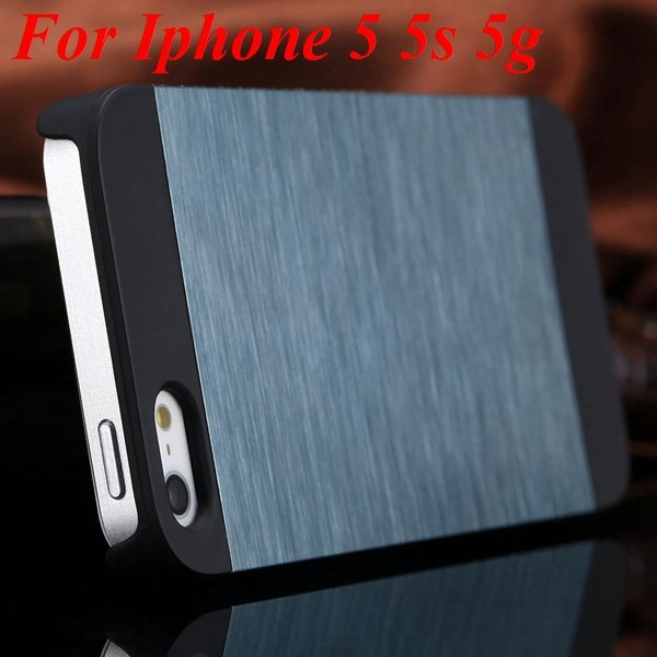 4S 5S Back Case Luxury Metal Brush Aluminum Cover For Iphone 4 4S  1850110222-5-navy blue for 5S