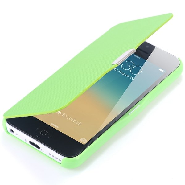 Fashion Flip Pu Leather Full Protect Cover For Apple Iphone 5C Cas 32240347361-5-green