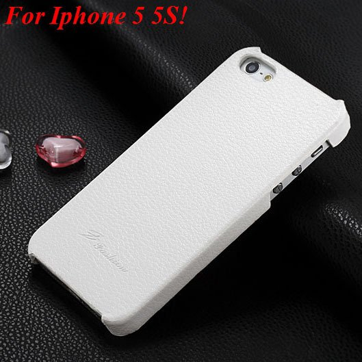 4S 5S Genuine Leather Case Original Real Cowhide Leather Cover For 1551484355-5-white for 5S