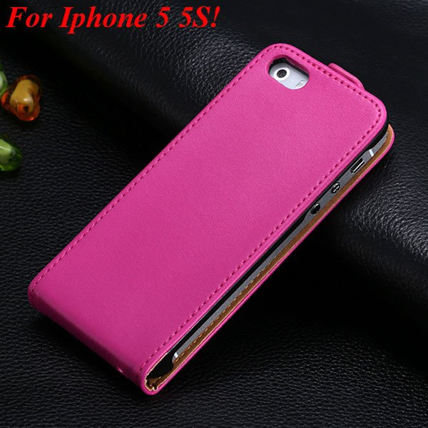 Luxury Genuine Leather Flip Cover Case For Iphone 5 5S 5G Full Pho 1336843246-8-5 5S Hot Pink