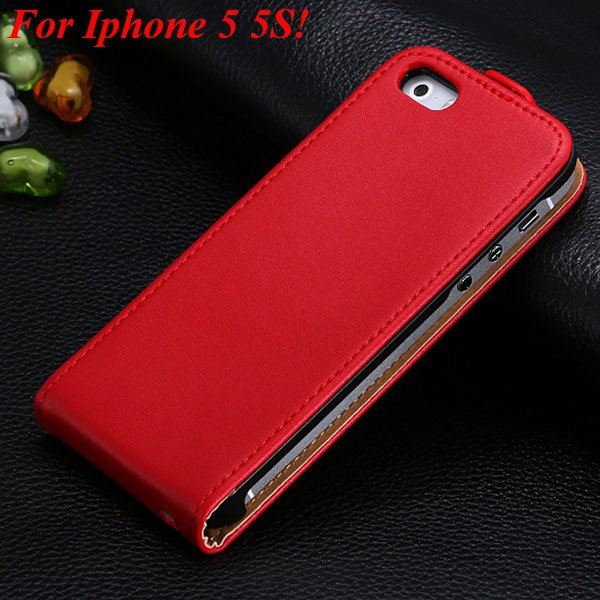 Luxury Genuine Leather Flip Cover Case For Iphone 5 5S 5G Full Pho 1336843246-10-5 5S Red