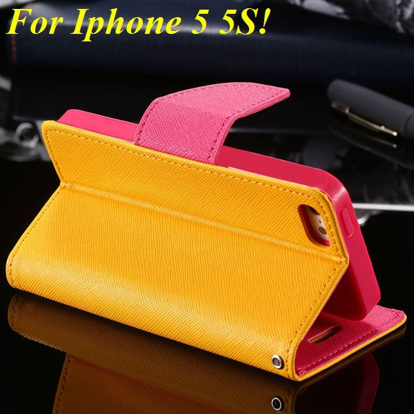 Tpu+Pu Wallet Book Style Case For Iphone 5 5S 5G Flip Leather Carr 1774336501-4-yelllow
