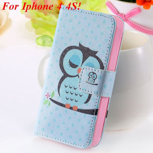 Matt Color Printed Flip Leather Case For Iphone 4 4S 4G 5 5S 5G Wa 1925063846-8-4s Sky blue Owl
