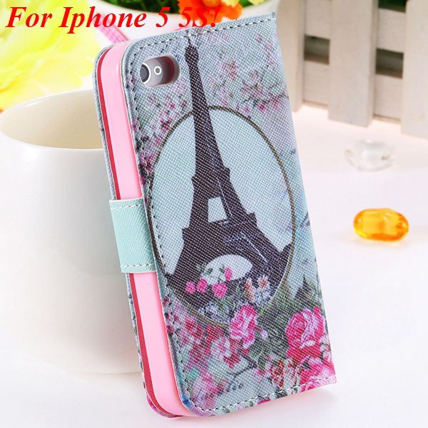 Matt Color Printed Flip Leather Case For Iphone 4 4S 4G 5 5S 5G Wa 1925063846-17-5s Flower Tower