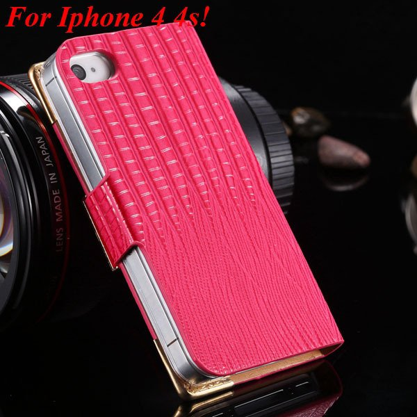 4S 5S Diamond Leather Case For Iphone 5 5S 5G 4 4S 4G Flip Wallet  1892017068-7-hot pink for 4s