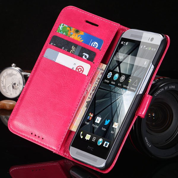 M8 Flip Wallet Case For Htc One M8 Full Pu Leather Cover With Stan 1877666152-5-hot pink