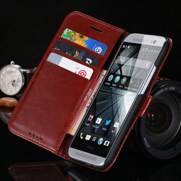M8 Flip Wallet Case For Htc One M8 Full Pu Leather Cover With Stan 1877666152-6-brown