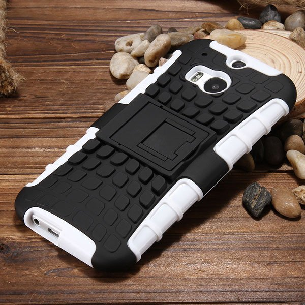 M8 Armor Heavy Duty Hard Cover Case For Htc One M8 Dual Layer Sili 32294281901-8-white