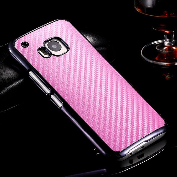 M9 Plating Microfiber Case With Chromed Metallic Frame For Htc One 32304730204-6-pink