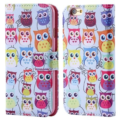 Retro Colorful Mat Pattern Pu Leather Case For Iphone 6 Flip Stand 32255140015-2-Many Owls