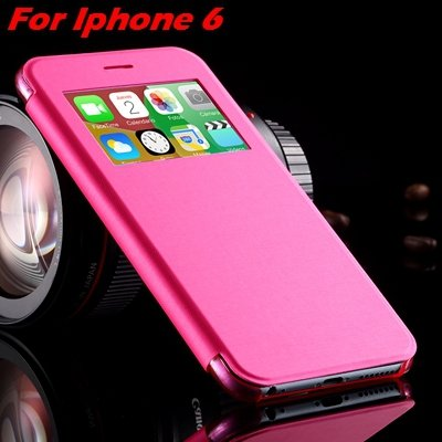 For Iphone 6 Leather Case Front Window View Pu Leather Case For Ip 32256469102-3-Hot Pink For IPHONE