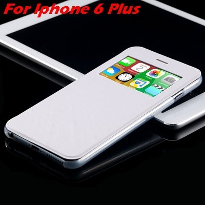 For Iphone 6 Leather Case Front Window View Pu Leather Case For Ip 32256469102-10-White For I6 Plus