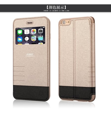 2015 Gold Luxury Flip Pu Leather Case For Iphone 6 4.7Inch Open Wi 2055091619-2-Gold