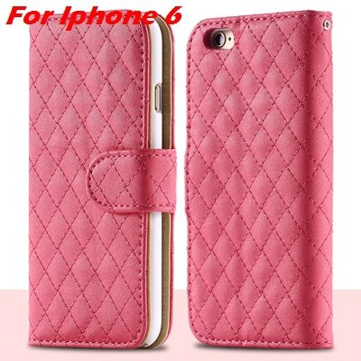 For Iphone 6 Case Vintage Luxury Business Sheapskin Grid Leather C 32257953439-4-Hot Pink for I6