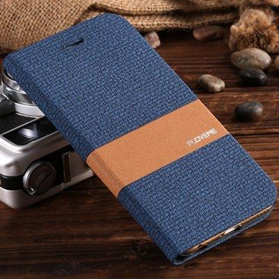 Retro Luxury Soft Feeling Cloth + Linen Pu Leather Case For Iphone 32274222249-4-Dark Blue