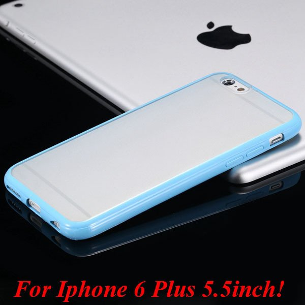 I6/6 Plus Mat Pc Back Case + Candy Color Tpu Frame Clear Cover For 2017247041-16-I6 Plus sky blue