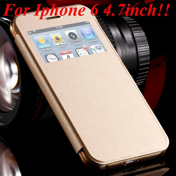 I6 Window View Case For Iphone 6 4.7Inch/5.5Inch Plus Full Wallet  32232345815-4-gold for iphone 6