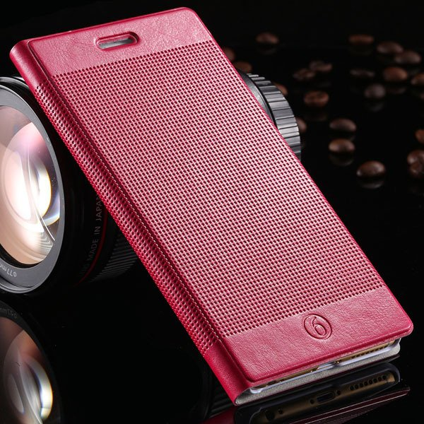 Popular Grid Structure Flip Wallet Shell For Iphone 6 Plus 5.5Inch 32214571519-4-hot pink