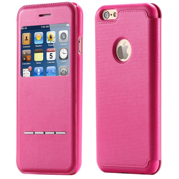 I6 Smart Window View Cover For Iphone 6 4.7Inch Full Case Flip Pro 32241707628-5-hot pink