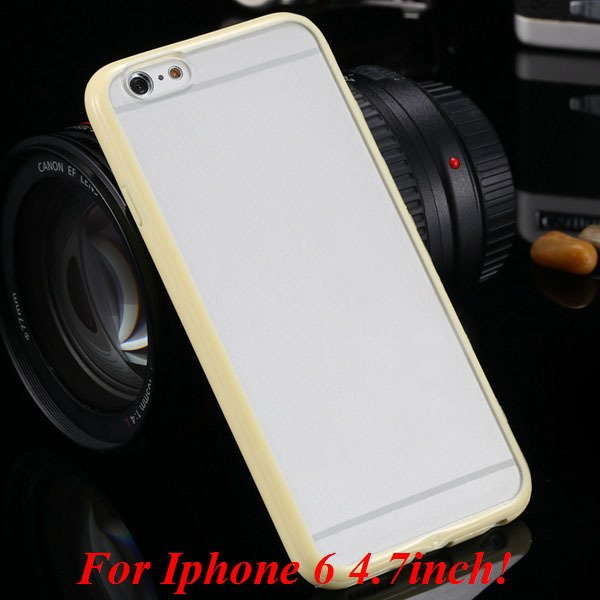 I6/6 Plus Mat Pc Back Case + Candy Color Tpu Frame Clear Cover For 2017247041-4-i6 yellow
