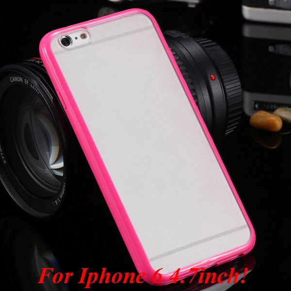 I6/6 Plus Mat Pc Back Case + Candy Color Tpu Frame Clear Cover For 2017247041-6-i6 hot pink