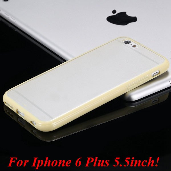 I6/6 Plus Mat Pc Back Case + Candy Color Tpu Frame Clear Cover For 2017247041-18-I6 Plus yellow
