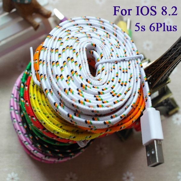 10Ft/3M For Ios 8.2 Braided Nylon Noodle Flat Wire 8Pin Usb Wire D 2008043310-1-