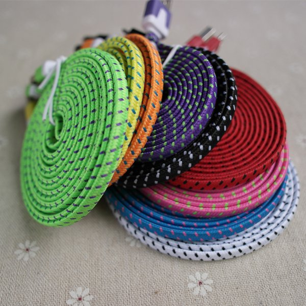 6Ft/2M Colorful Braided Fabic Wire For Iphone4 4S Noodle Flat 30Pi 2055353163-1-