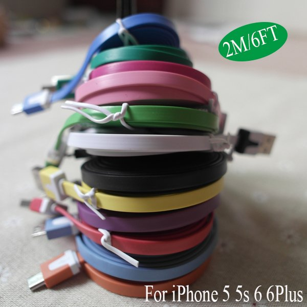 6Ft/2Meter Colorful 8Pin Usb Noodle Wire Date Sync Charging Charge 2008119144-1-