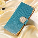 Luxury Bling Wallet Flip Leather Case For Motorola Moto X 2014 Xt1 32303405177-3-Blue
