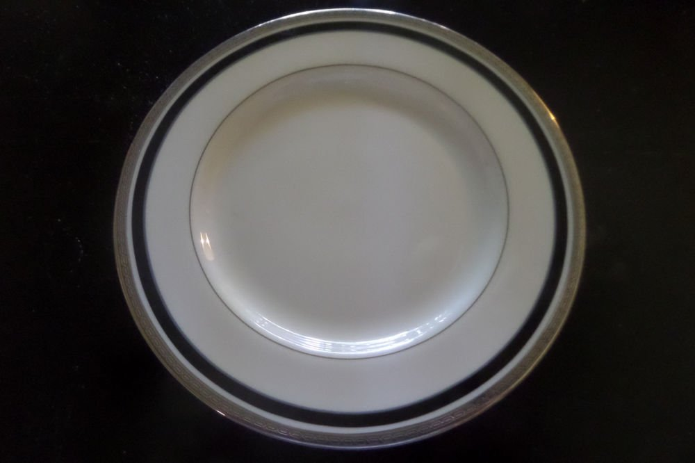 "3 PICKARD CHINA DIPLOMAT 8 1/4"" SALAD PLATES PLATINUM TRIM W/ BLACK BAND USA"