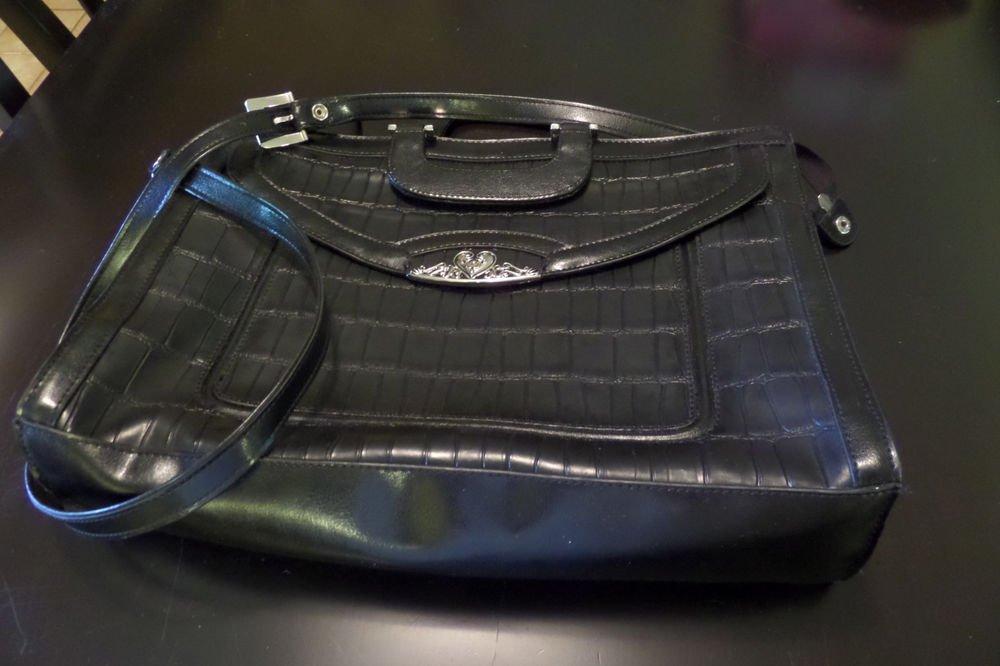 M.C. Handbags Leather Black Croc Embossed Silver hardware Tote Purse