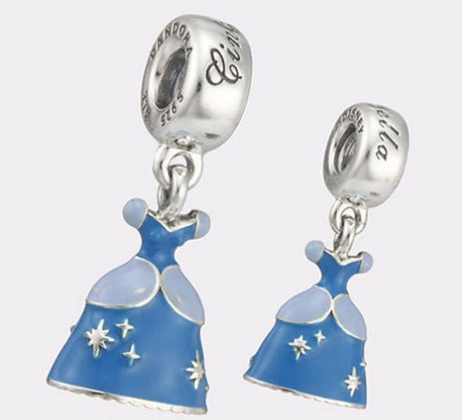 Authentic Pandora Silver Enamel Dangle Disney Cinderella Dress Bead 791578ENMX