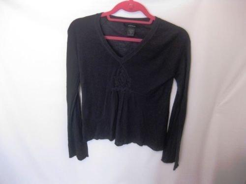 EUC Woman's Small Express Black Silk Long Sleeve Blouse