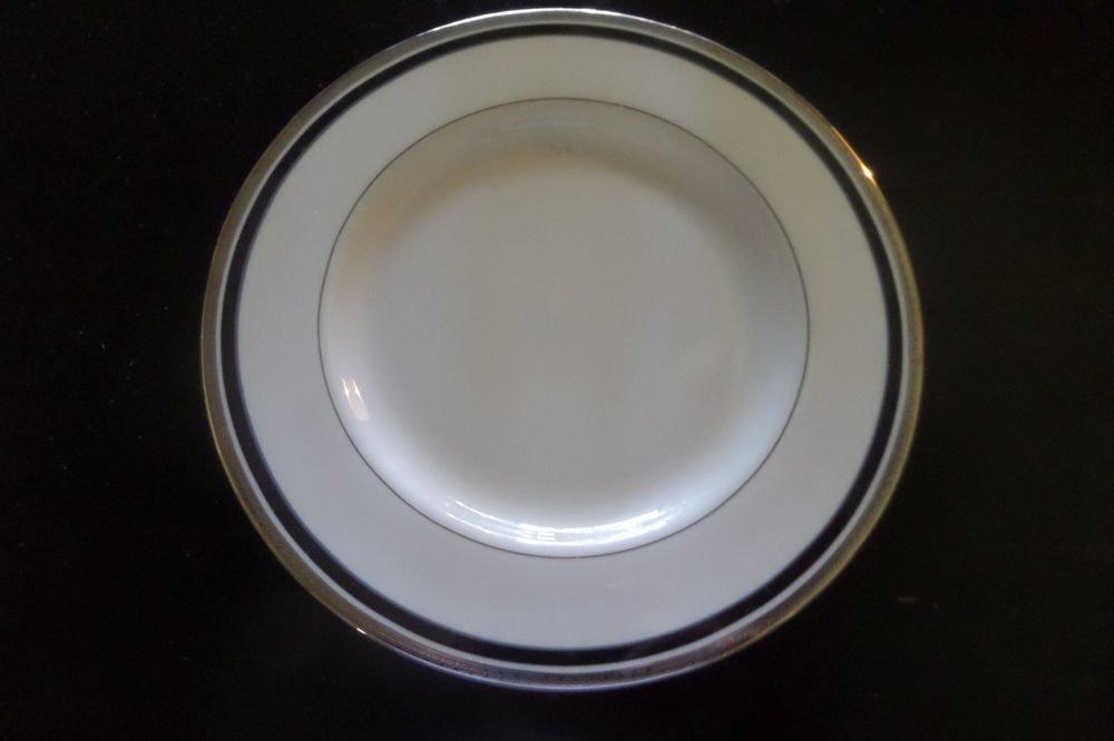 "4 PICKARD CHINA DIPLOMAT 10 3/4"" DINNER PLATE PLATINUM TRIM W/ BLACK BAND USA"