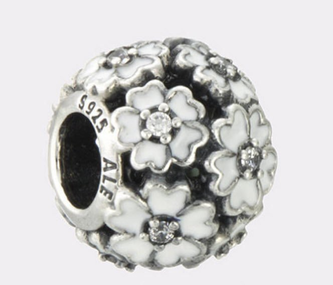 Authentic Pandora Sterling Silver Primrose Meadow White Enamel Bead 791488EN12