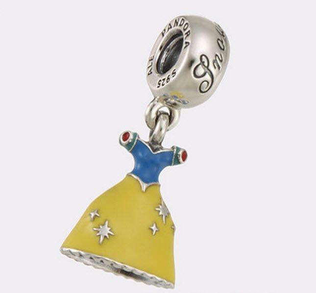 Authentic Pandora Silver Dangle Enamel Disney Snow White Dress Bead 791579ENMX