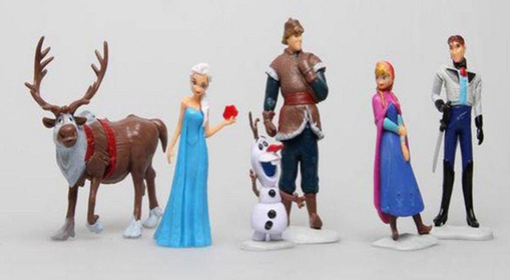 6 Pcs Frozen Elsa Olaf Sven Anna Hans Action Figure Play set Cake Topper