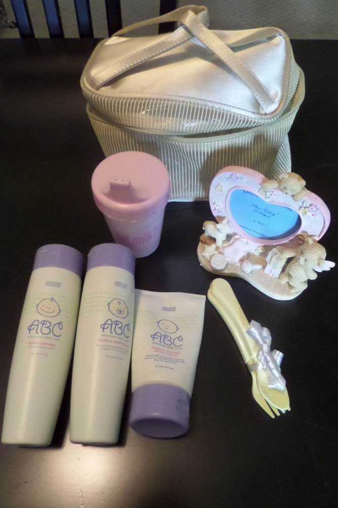 Arbonne ABC Baby Care Gift Set - Body Wash, Diaper Cream, Lotion, Pink Frame
