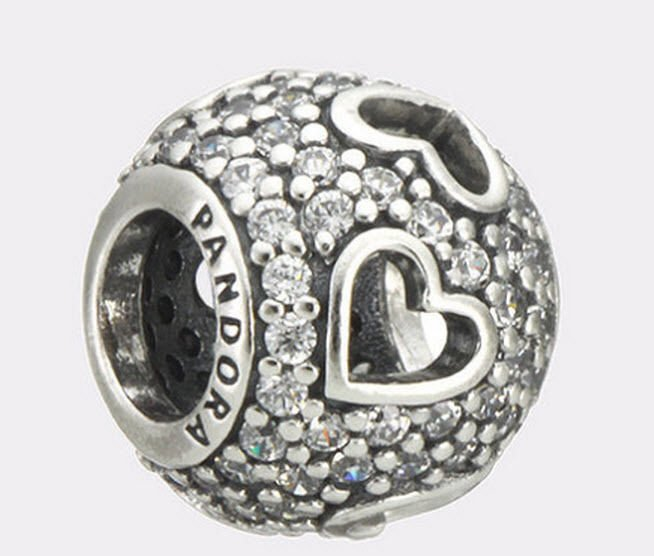 Authentic Pandora Sterling Silver Tumbling Hearts CZ Bead 791426CZ