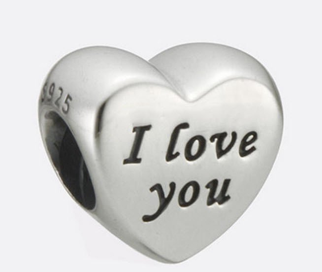 Authentic Pandora Sterling Silver Words of Love I Love You Bead 791422