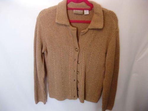 EUC Woman's Medium Liz Claiborne Thick Tan Long Sleeve Sweater