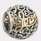 Authentic Pandora Sterling Silver & 14K Gold Message of Love Bead 791425