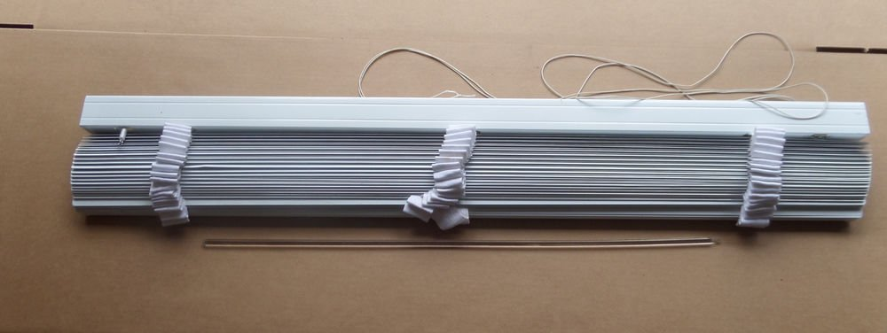 "Designer Two-Inch White Vinyl fabric Window Blinds 46"" x 71"""