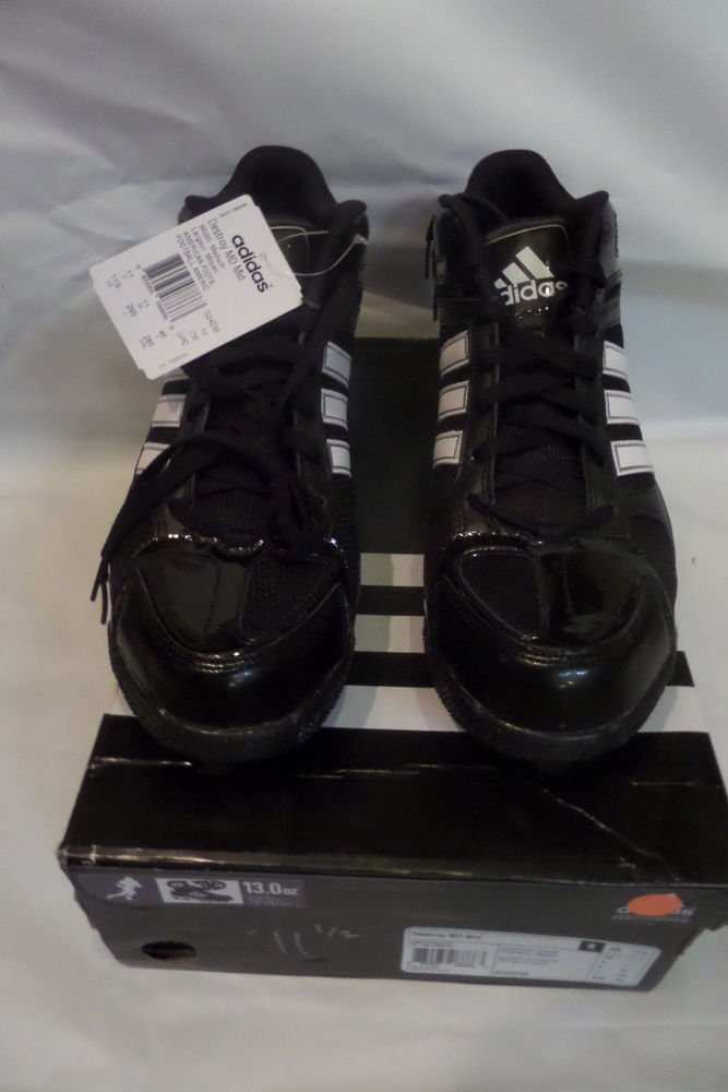 G24238  Adidas Destroy MD Mid Football Cleats Black White Size 11.5 Medium Width