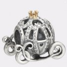Authentic Pandora Silver & 14K Disney Cinderella Pumpkin Coach Bead 791573CZ