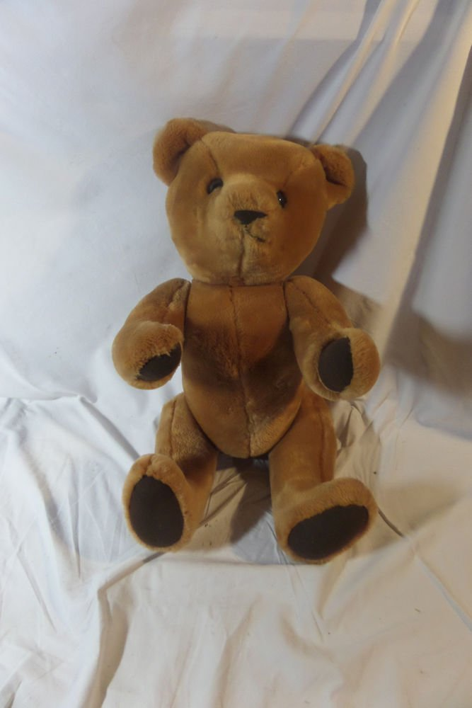 Vintage Wool Plush Teddy Bear 17 inch Jointed Moveable Arms Legs