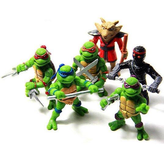 6 Pcs Teenage Mutant Ninja Turtles TMNT Action Figure Playset Cake Topper 4.8 cm