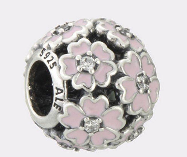 Authentic Pandora Sterling Silver Primrose Meadow Pink Enamel Bead 791488EN68